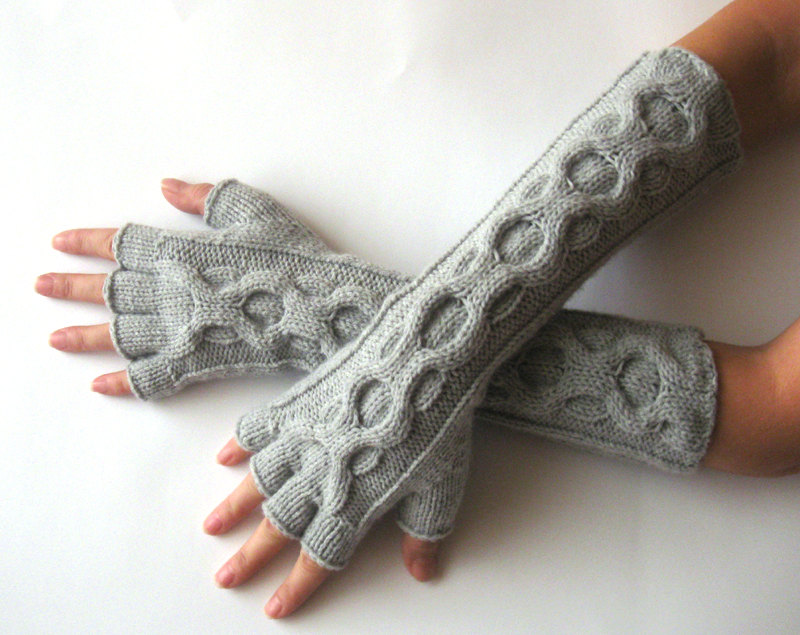 Knit Gloves Pattern Inverted Cable Fingerless Gloves Half Fingers