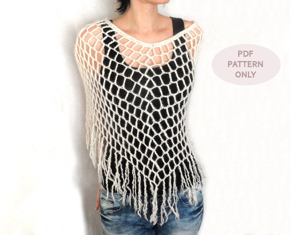 Crochet Spiderweb Poncho Crochet Poncho Pattern Fringes Lacy Capelet ...