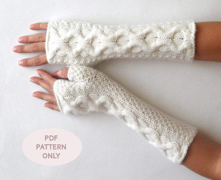 Knit Fingerless Mittens Cable Fingerless Gloves Pattern Knit Pattern