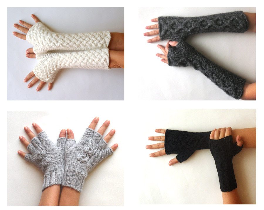 Knit Fingerless Gloves Patterns Cable Mittens Knit Pattern Combo 2 ...