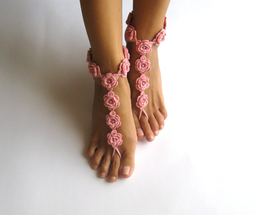 PDF Pattern - Crochet Barefoot Sandals Pattern Nude Shoes Bridal ...