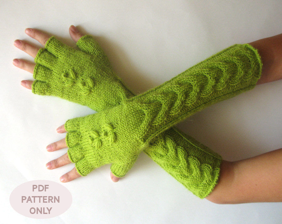Knit Mittens Pattern Cable Fingerless Gloves Pattern Hand Warmers ...