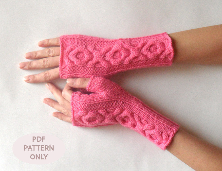 Knit Gloves Pattern Xo Cable Gloves Pattern Knitting Pattern