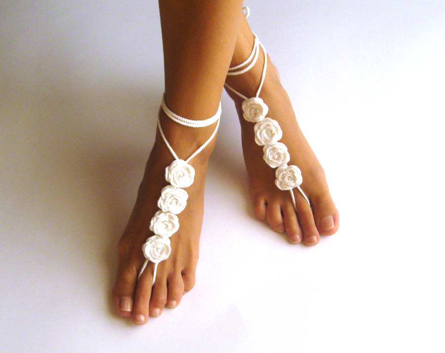 Pdf Pattern Rose Crochet Barefoot Sandals Nude Shoes Pattern