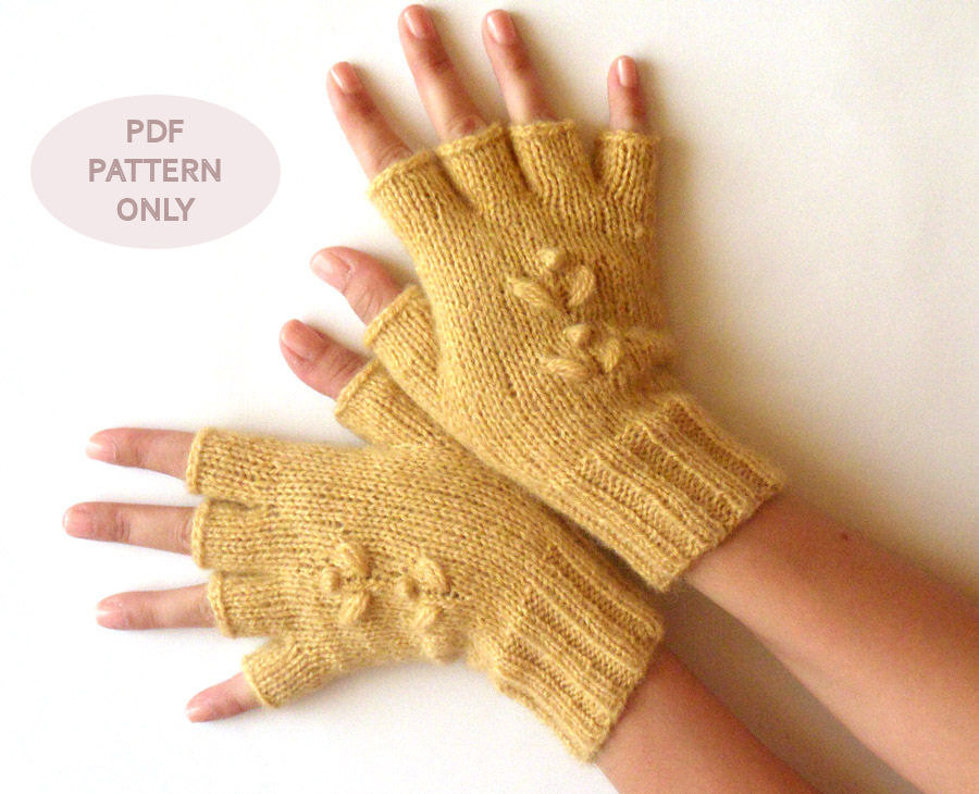 Knit Fingerless Mittens Half Cut Fingerless Gloves Pattern Knit
